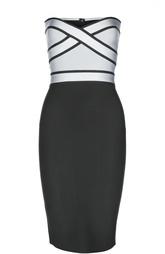 Облегающее платье-бюстье с контрастным лифом Herve L.Leroux