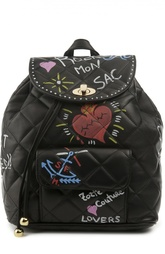 Кожаный рюкзак с принтом Forte Couture
