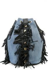 Джинсовый рюкзак с бахромой Forte Couture