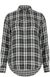 Хлопковая блуза в клетку с нашивными карманами Polo Ralph Lauren