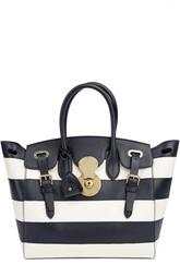 Кожаная сумка в полоску Ralph Lauren
