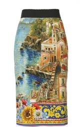 Шелковая юбка-карандаш с принтом-пейзажем Dolce & Gabbana