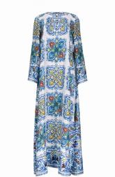 Шелковое платье в пол с расклешенными рукавами Dolce & Gabbana