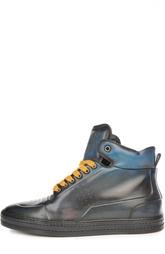 Высокие кеды с контрастной шнуровкой и патинированием Berluti