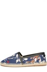 Эспадрильи с растительным орнаментом и кожаной отделкой Dolce & Gabbana