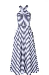 Приталенное платье макси в полоску с открытой спиной Ralph Lauren
