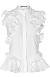 Хлопковая блуза с воланами Alexander McQueen