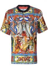 Шелковое поло с принтом и воротником стойкой Dolce & Gabbana