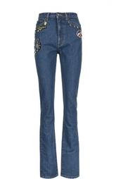 Прямые джинсы с завышенной талией и вышивкой Marc Jacobs