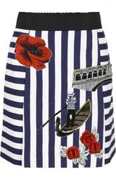 Хлопковая мини-юбка в полоску с нашивками Dolce & Gabbana