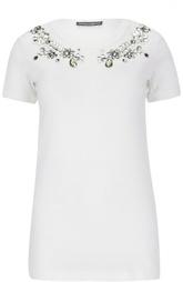 Хлопковая футболка с кристаллами Dolce & Gabbana