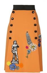 Юбка-миди с широким поясом, нашивками и декоративными пуговицами Dolce & Gabbana