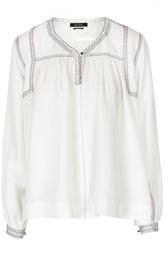 Шелковая блуза прямого кроя с V-образным вырезом на пуговице Isabel Marant