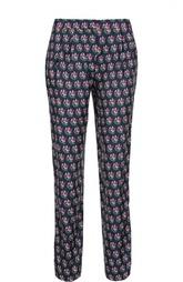 Прямые шелковые брюки с принтом и защипами Diane Von Furstenberg
