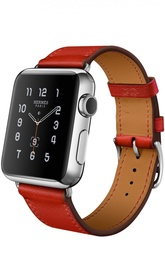 Apple Watch 38mm Stainless Steel Case Hermes Single Tour Leather Band Apple