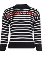 Шерстяной свитер в полоску с контрастной отделкой Alexander McQueen