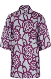 Хлопковая блуза с широкими рукавами и контрастным принтом Dries Van Noten