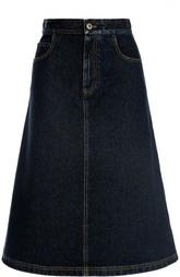 Джинсовая юбка миди с контрастной прострочкой Givenchy