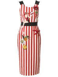 полосатое декорированное платье Dolce & Gabbana