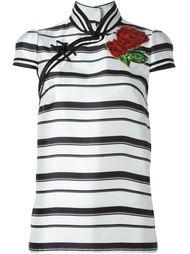 полосатая блузка с цветочной аппликацией Dolce & Gabbana