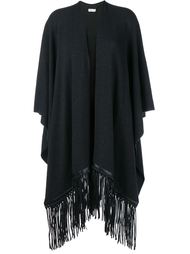 Fringed Leather & Wool-Cashmere Blend Poncho Vince