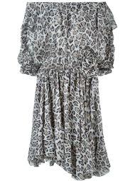 leopard print off shoulder dress Faith Connexion