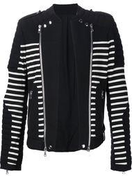полосатая куртка в байкерском стиле Balmain
