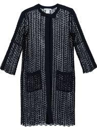 пальто свободной вязки с пайетками Oscar de la Renta