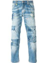 джинсы прямого кроя  с рваными деталями   Philipp Plein