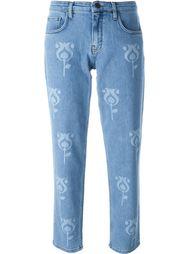 укороченные джинсы с принтом тюльпанов   Victoria Beckham