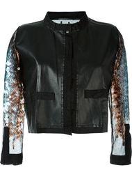 кожаный пиджак с пайетками на рукавах Aviù