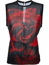 топ с принтом розы  McQ Alexander McQueen