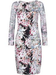 floral print mesh sleeve dress L'agence