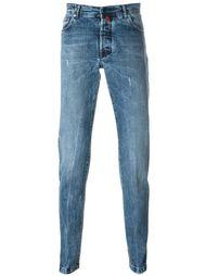 джинсы кроя слим с потертой отделкой Kiton