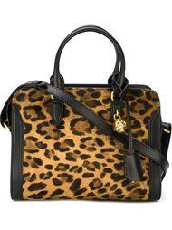 маленькая леопардовая сумка-тоут  'Padlock' Alexander McQueen