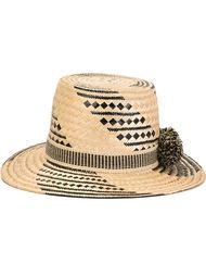 широкополая шляпа с помпонами Yosuzi