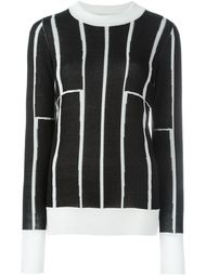 striped contrast crew neck jumper Etienne Deroeux