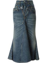 длинная джинсовая юбка с оборками Junya Watanabe Comme Des Garçons