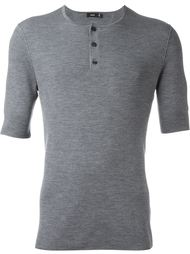 футболка в рубчик с воротником-хенли Vince