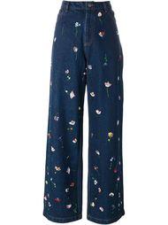 джинсы с цветочной вышивкой  Ashish