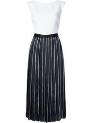 contrast pleat flared midi dress Monique Lhuillier