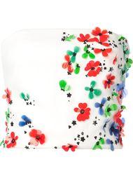 топ без бретелек с цветочной аппликацией Monique Lhuillier