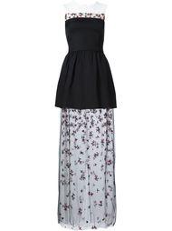 длинное платье с прозрачной декорированной юбкой Monique Lhuillier