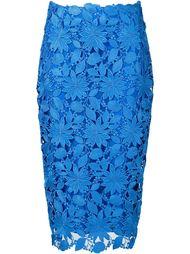 overlay floral applique straight midi skirt Monique Lhuillier