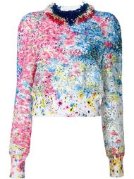 paint splatter lace blouse Monique Lhuillier