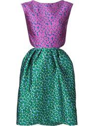 floral print two tone cut out back dress Monique Lhuillier