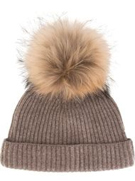detachable pompom ribbed hat N.Peal