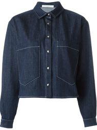 укороченная джинсовая куртка с контрастной строчкой Lucio Vanotti