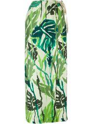длинная юбка с растительным принтом Erika Cavallini