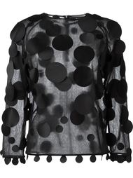 dots applications sheer blouse Paskal